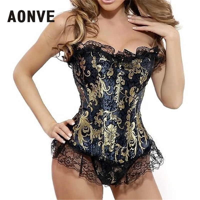 AONVE Sexy Lace   Corset   Steampunk Overbust Floral Embroidery Gold   Corsets   and   Bustiers   Waist Trainer   Corset   Plus Size S-6XL