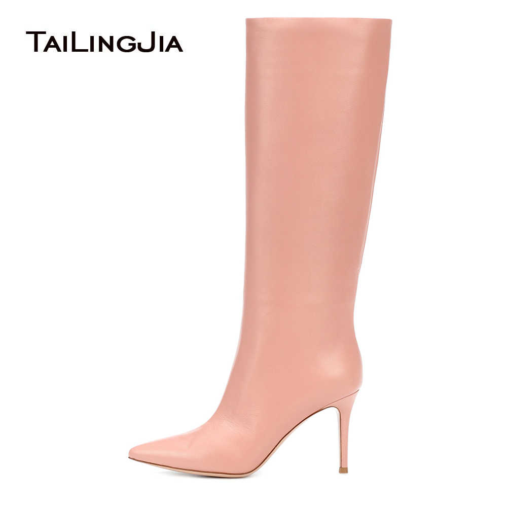 Women Pointy High Heel Pink Knee High Boots Black Tube Shaft Tall Boots Ladies Winter White Shoes Slip on Cute Red Heels 2018