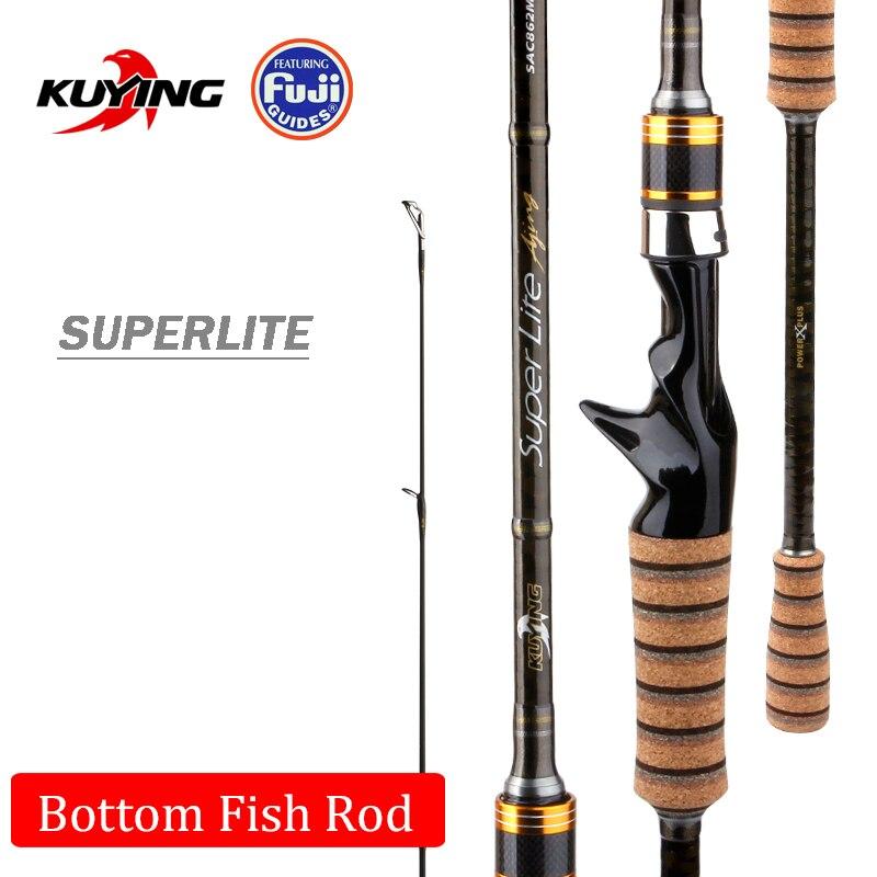 KUYING SuperLite 2.1 m 2.28 m 2.58 m Richiamo di Carbonio Casting Spinning Canna Da Pesca Stick Pole FUJI Parti Medio Veloce azione Dei Pesci di Fondo