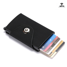 BYCOBECY RFID  Business Card Holder Hasp Men and Women ID Wallet PU Leather Pop Up Clutch High Quality Case