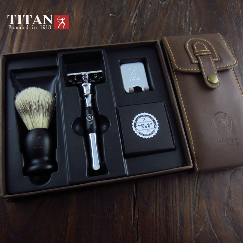 цена Titan razor double edge safety razor set with brush soap free shipping razor set