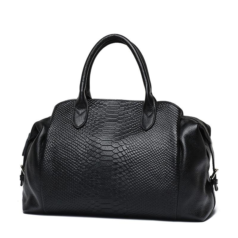 2019 Autumn Winter Brand PASTE Women Handbag European Style Genuine Cow Leather Crocodile Pattern Shoulder Bag