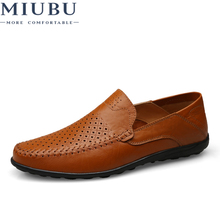 MIUBU Men Casual Leather Shoes Slip-on Breather Comfortable Summer Sapato Masculino