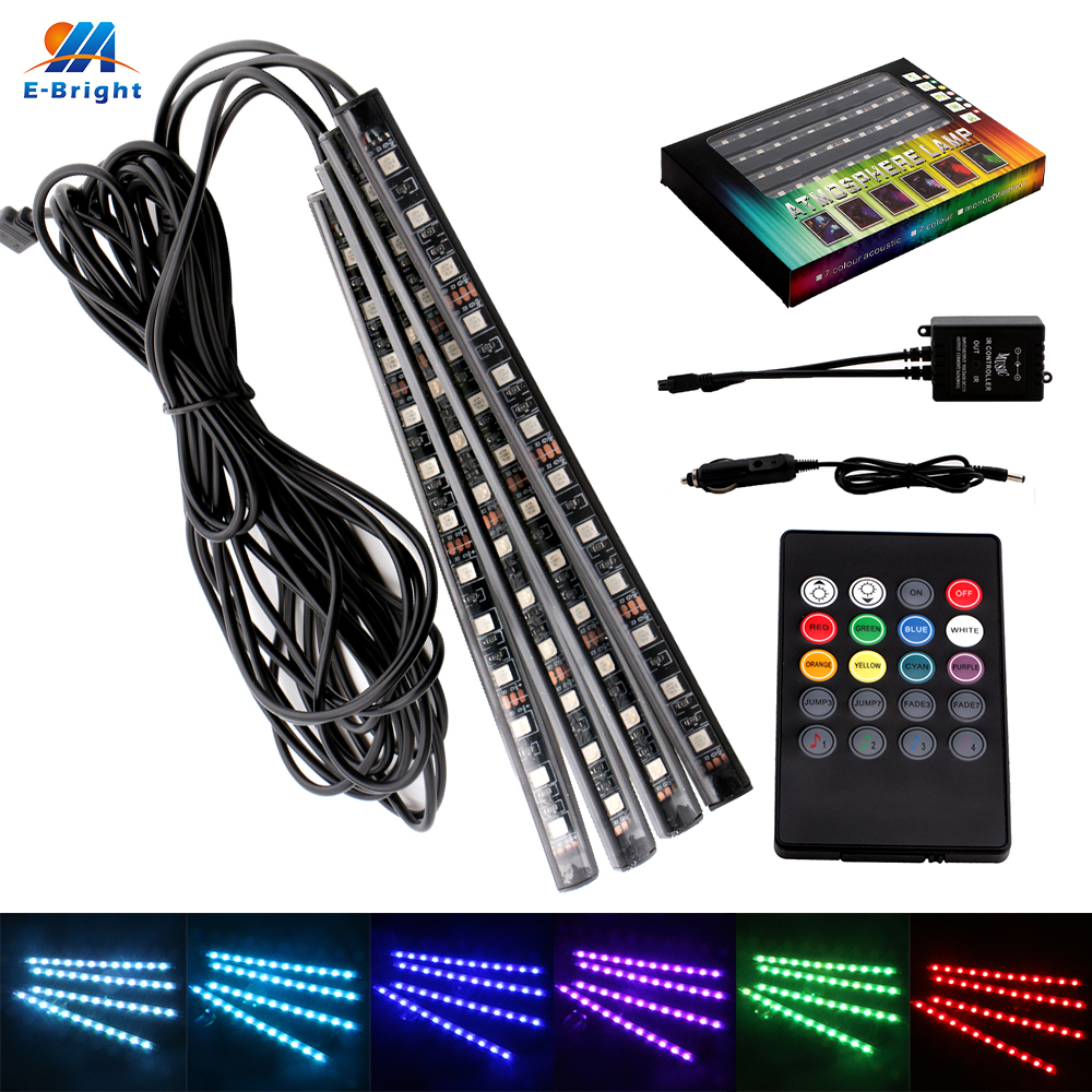 3Sets RGB 5050 LED Waterproof 4x12SMD Auto Decorative LED Strip Light with Remote Controller 12V IP65 Car Lighting 20m roll dc24v rgb led strip 5050 waterproof non waterproof led light tape led power supply 2 4g rgb controller