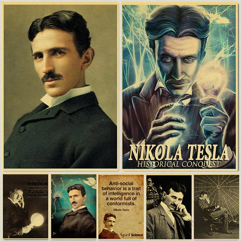Vintage Poster And Prints Nikola Tesla Poster Coil Turbine Lamp Tower Patent Parchment Paper Style Art Painting Wall Sticker