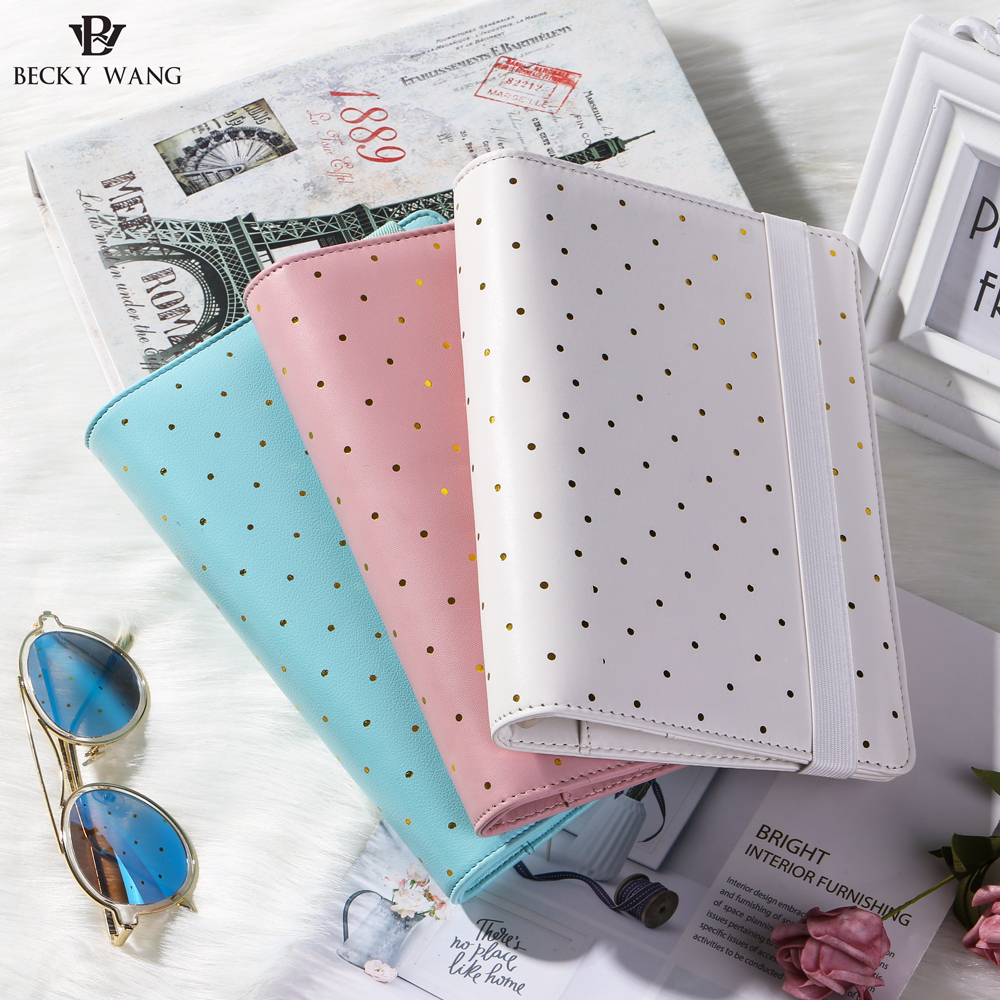 A5 Gold Dotted Notebook Binder Only Spiral Agenda 2018 Mint Pink White Planner Cute Journals Books Diary School Supplies mint planner