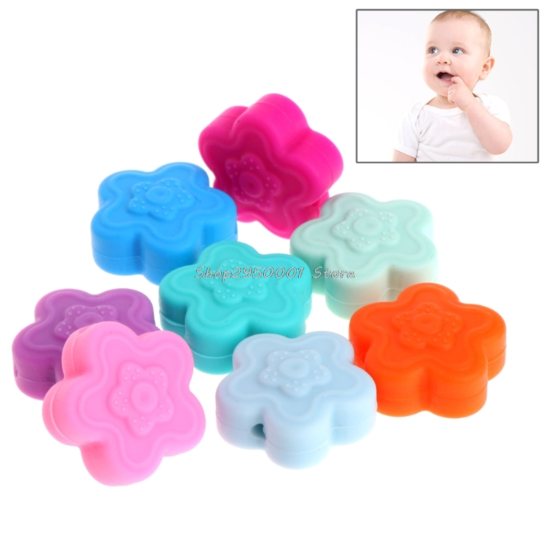 2017 5Pcs Silicone Beads Pendant Flowers For Baby Teether Relief Pain DIY Necklace  Gift  DEC13_30