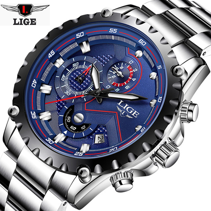 Relogio Masculino LIGE Brand Men's Fashion Watches Men Sport Waterproof Quartz Watch Man Full Steel Military Clock Wrist watches simfer f66gl42001