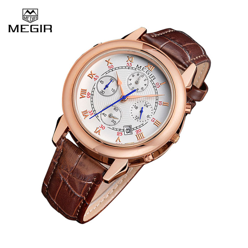 Men Watchs Megir Brand Sport Quartz Wristwatch Montre Fashion Leather Military Style Top Luxury Chronograph Wrist Watch for Male megir 2017 fashion creative sport waterproof quartz watch men casual leather brand wristwatch luminous stop wristwatch for male