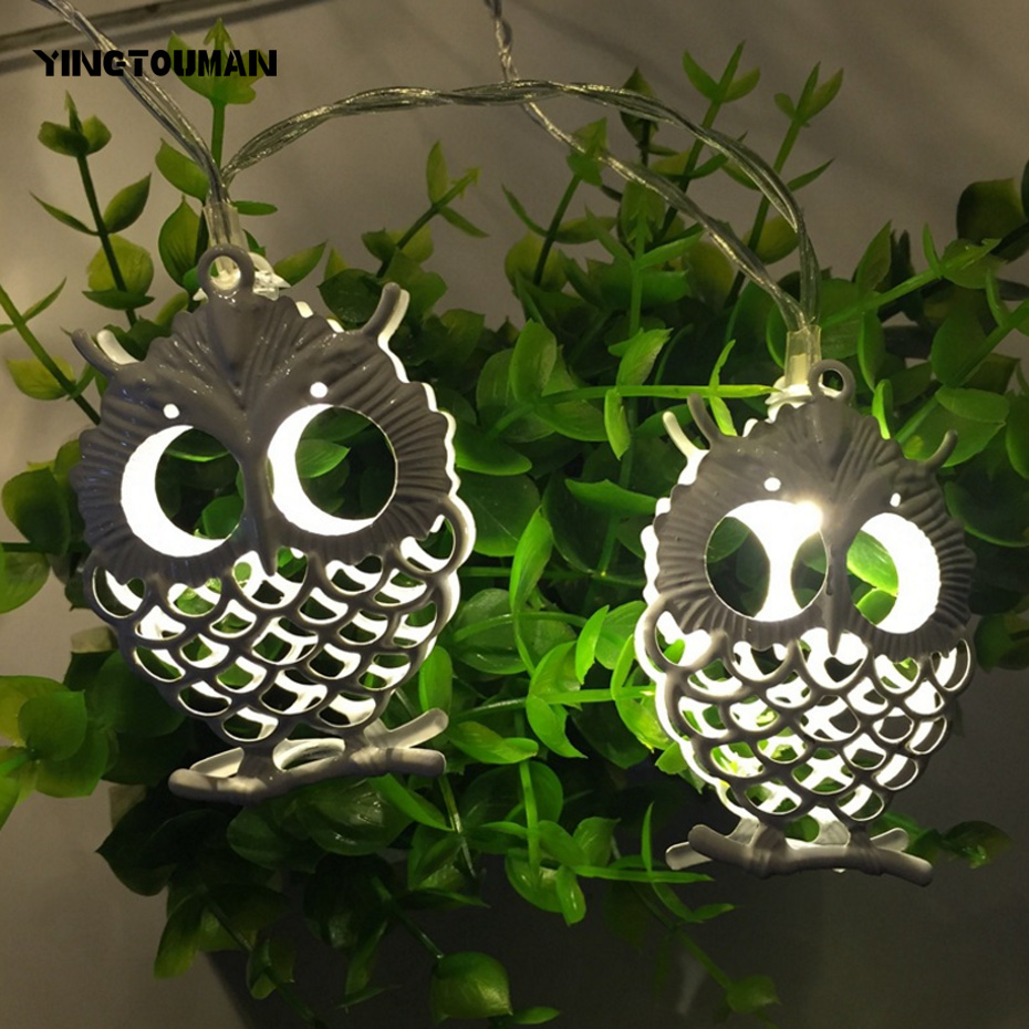 YINGTOUMAN Owl Shaped Battery Powered String Fairy Lights Wedding Home Birthday New Year Event Party Christmas 1.5m 10led