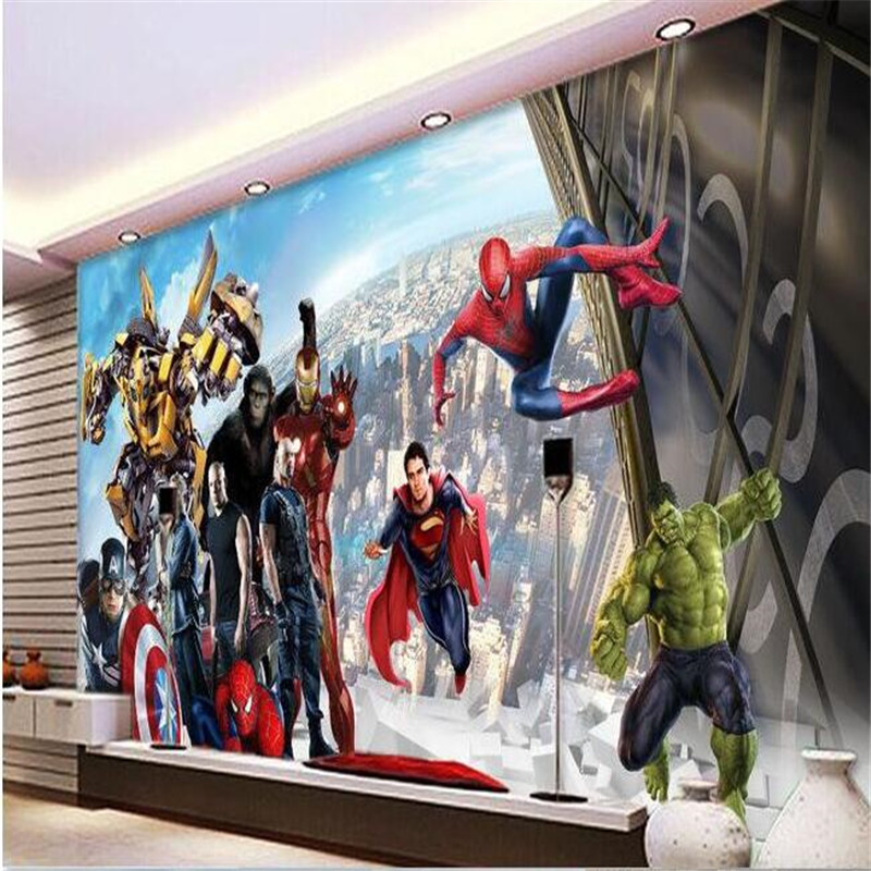 3d large wall wallpaper mural hd city of heroes movie for Character mural