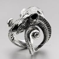 Large Ran Skull Horn Aries 925 Sterling Silver Mens Ring 8E003 Free Size