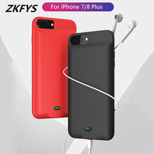 ZKFYS For iPhone 7 8 Plus Battery Charger Case Charging Cover 5000mAh Portable Power Bank With audio