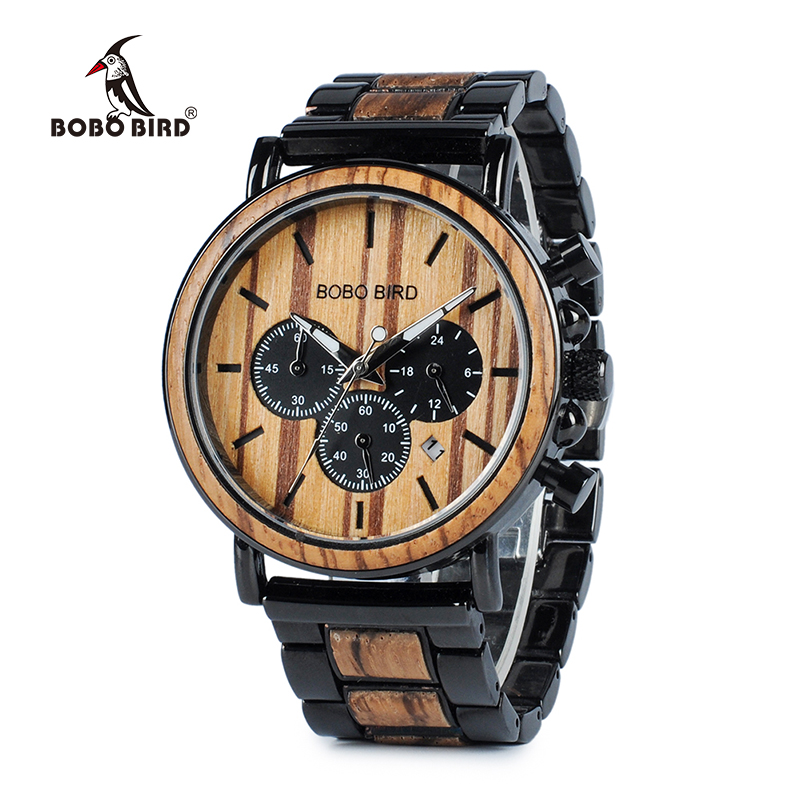 BOBO BIRD Wood Men Watches Stop Watch with Wooden and Stainless Steel Band OEM Stylish Elegant Timepieces Montre Homme K--1