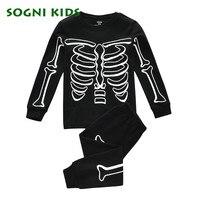 Baby Boy Girls Clothing Set Children Pajama Nightwear For 2017 Halloween Skull Bone Luminous Clothes Toddler