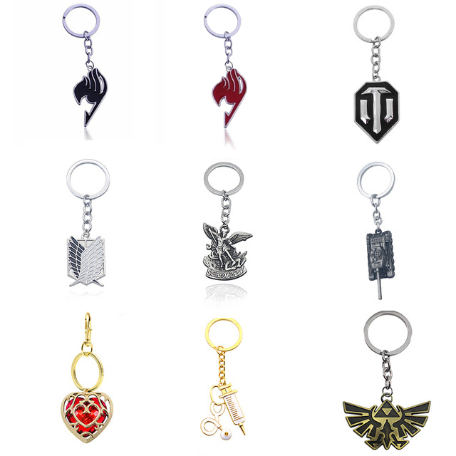 DIY Trendy Battle Game World Of Tank WOT Alloy Pendent Keychains Fashion Badge Fairy Tail Metal Key Chain Jewelry Dropshipping
