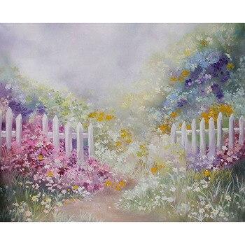 الفينيل خلفيات للتصوير الفوتوغرافي النفط الطباعة الأزهار الزهور حلم حديقة الأبيض السياج الطفل عيد ميلاد الأطفال خلفية خلفية