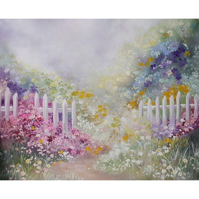 Vinyl Photography Backdrops Oil Printing Floral Flowers Dream Garden White Fence Baby Birthday Children Backdrop Background