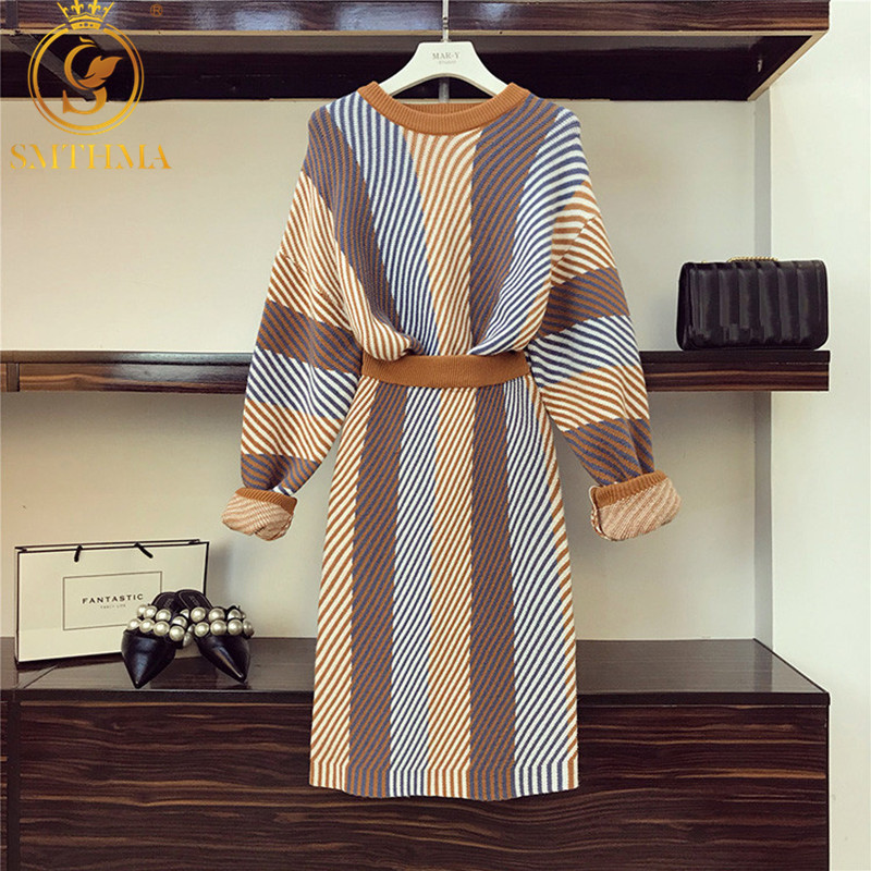 2019 New Women Striped Knitted Sweater Pullovers+ 2 Pieces Sets Elegant Knit Two Pieces Skirt Sets