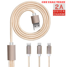 FDBRO One Drag Three Data Line Fast Charge USB Cable Tablet Android Charging Cord Microusb Charger Free Shipping