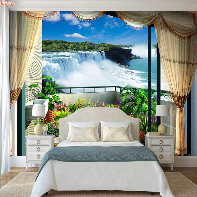 ShineHome Balcony Waterfall Photo 3 d Wallpaper for Wall Living Room