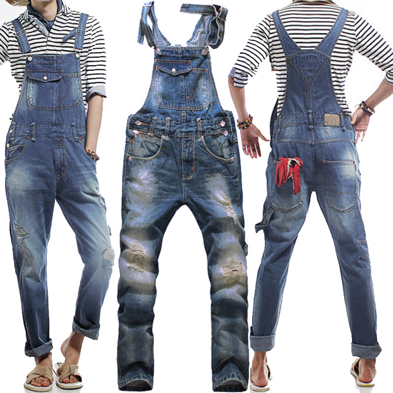 Men's Korean style slim Jumpsuits Hole suspenders jeans for men Mens denim bib pants Blue Denim Overalls Trouser For Man 033001 plus size pants the spring new jeans pants suspenders ladies denim trousers elastic braces bib overalls for women dungarees