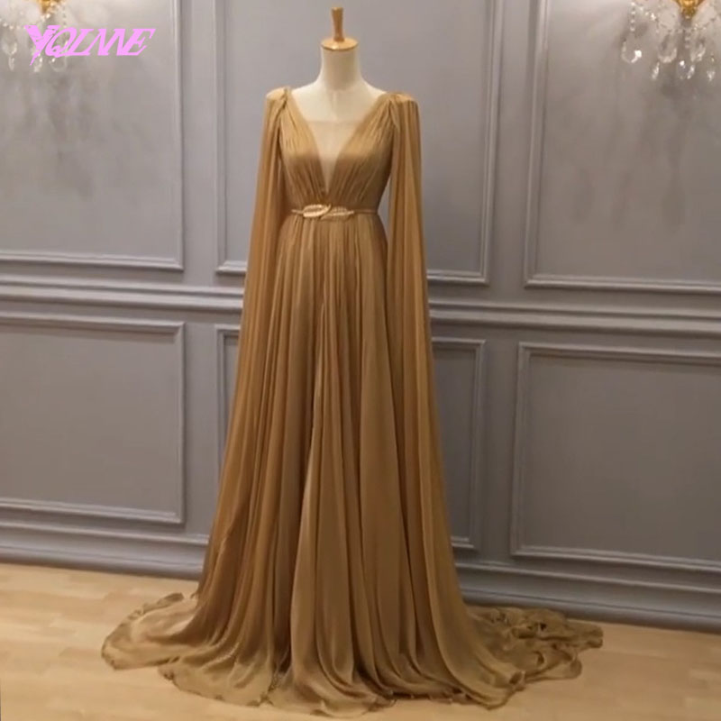YQLNNE 2018 Fashion Long   Prom     Dresses   Women Evening Gown Party   Dress   Champagne Chiffon V Back Zipper Vestido De Festa