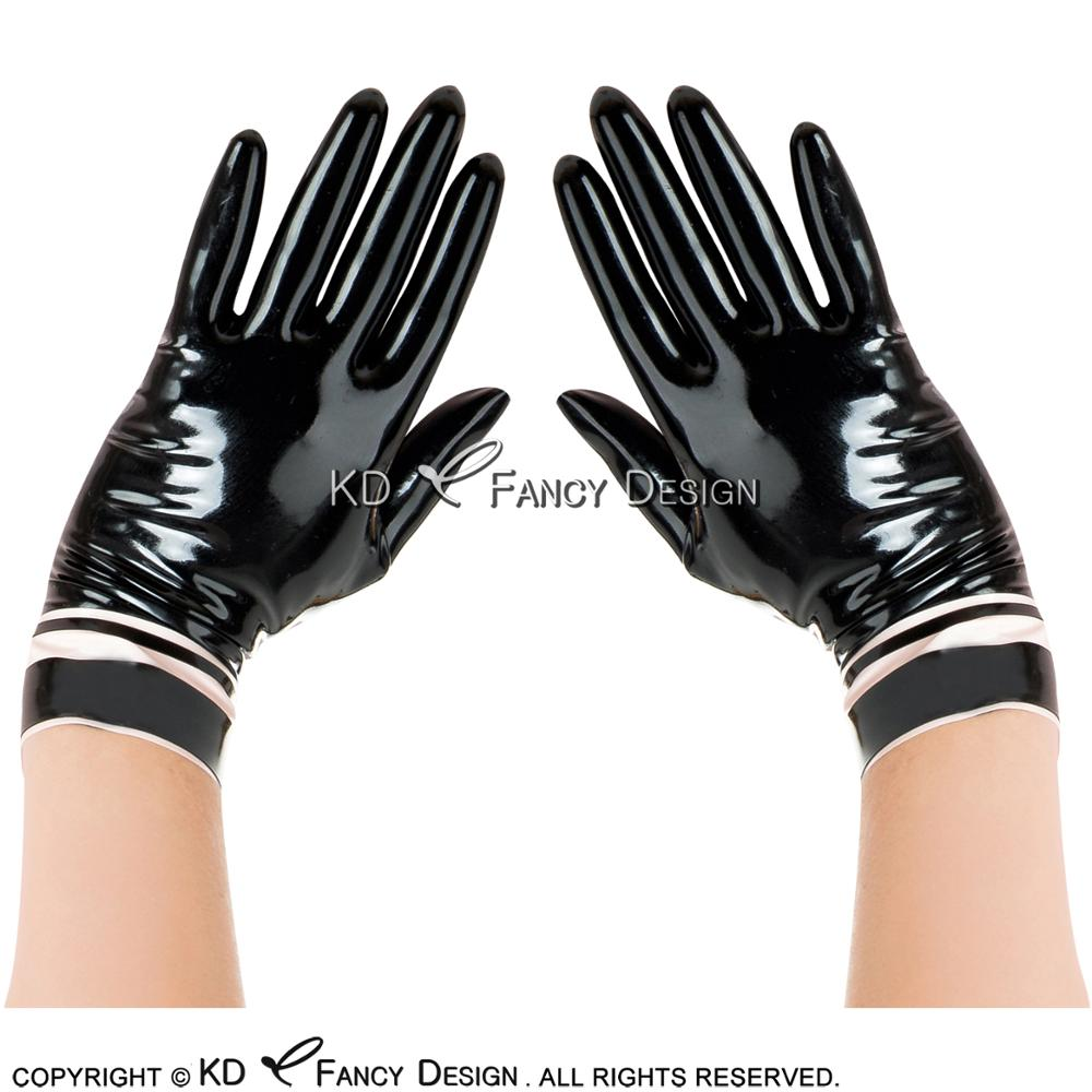 Black With White Trims Sexy Short Latex Gloves With Stripes At Bottoms Rubber Mittens ST-0047