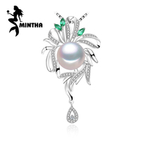 MINTHA 925 Sterling Silver Jewelry for Women Fine Jewelry flower necklace ,pearl jewelry statement beryl Bohemia necklace