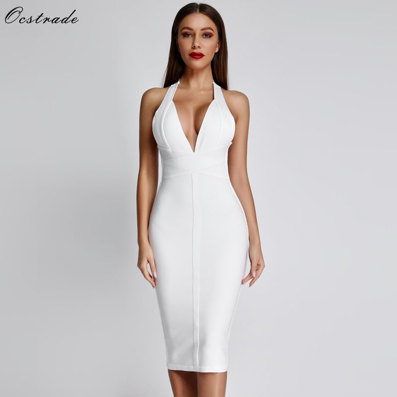 Ocstrade White Bandage Dresses 2019 New Arrivals Summer Deep V Neck Sexy Bodycon Dress Party Women Halter Bandage Dress Rayon