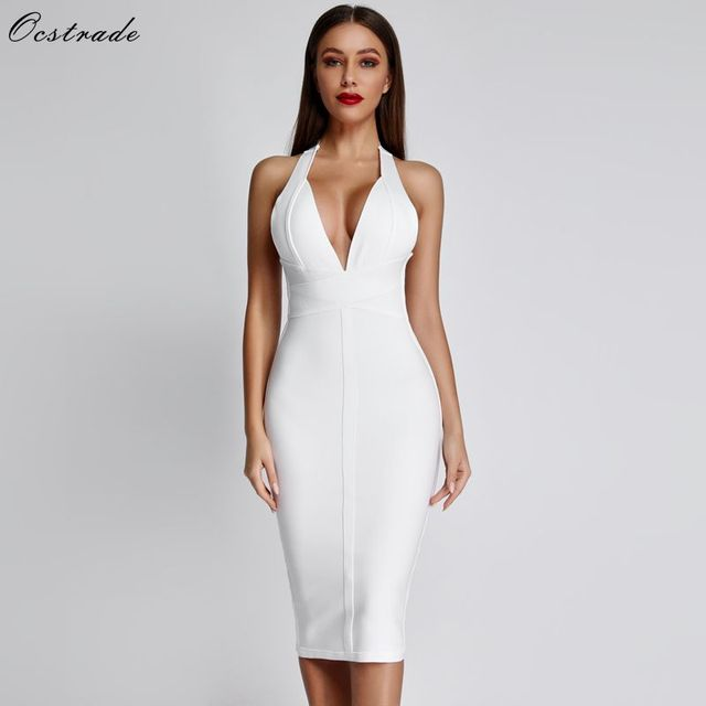 Ocstrade White Bandage Dresses 2019 New Arrivals Summer Deep v Neck Sexy Bodycon Dress Women Backless Party Club Dress Black Red