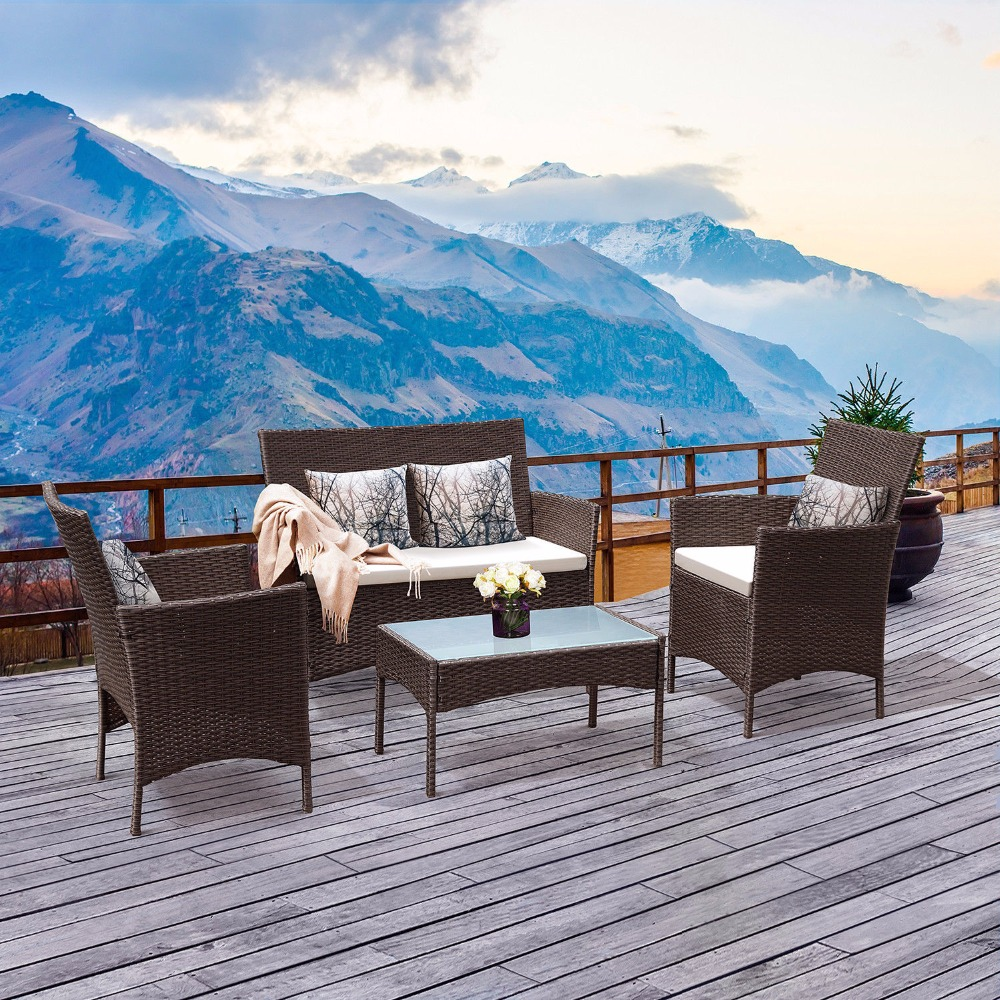 Giantex 4 PC Patio Rattan Wicker Chair Sofa Table Set Outdoor Garden Furniture Cushioned Outdoor Furniture HW52188