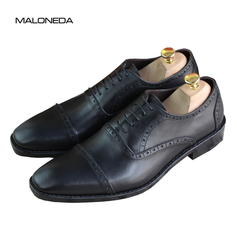 MALONEDA Handmade Men's Brogue Oxfords Leather Shoes Genuine Leather With Goodyear Welted for Business