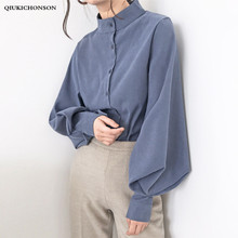 Qiukichonson Lantern Sleeve Spring Autumn Women Blouse Korean Fashion Vintage Stand Collar Single Breasted White Shirt