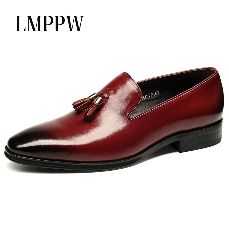 Luxury Brand Genuine Leather Men Business Dress Shoes Fashion Tassel Wedding Party Oxford Shoes Breathable Men Flats Red Loafers men s shoes business dress genuine leather evening dress flat shoes brand luxry oxford men loafers wedding leather shoes