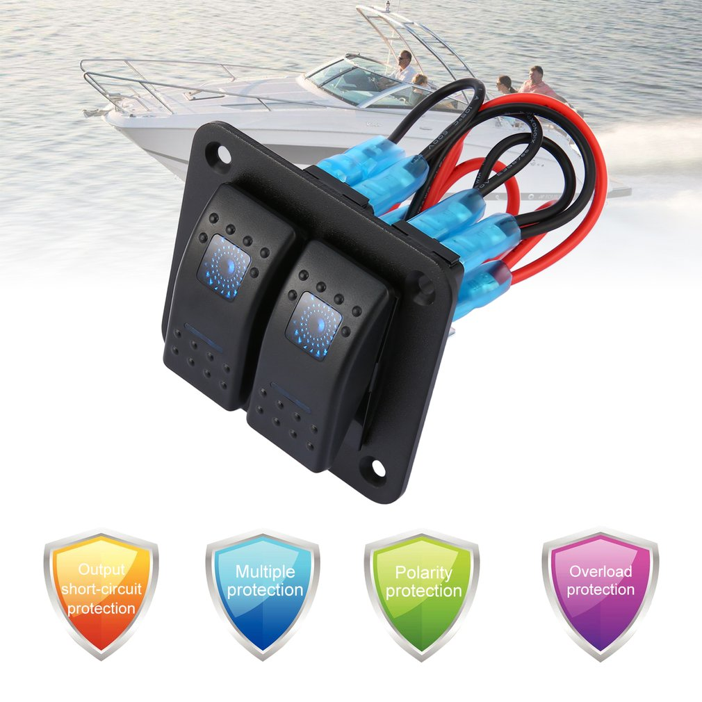 Detail Feedback Questions About Dc 12v 24v 2 Gang Rocker Switch Aluminium Led And Voltmeter Circuit Breaker Panel Dual Waterproof Control For Car Marine Boat On