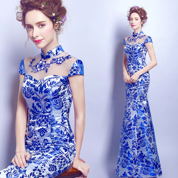 blue and white porcelain dress chinese oriental with lace wedding cheongsam modern designer traditional dresses women qipao