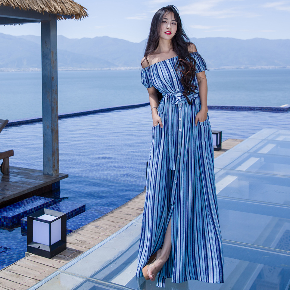 92ecb34a4048 2018 sexy off shoulder summer beach dress blue stripe casual dress bohemian  Short sleeves maxi dress