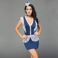 JSY woman sexy cosplay stewardess costume air hostess uniform outfit air servant suits polyester lace V neck dress 6908