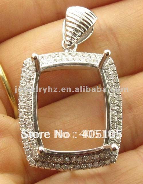 Fashion natural diamond 18x15mm cushion jewellerys solid 14k natural diamond 18x15mm cushion jewellerys solid 14k white gold pendant settings mozeypictures Choice Image
