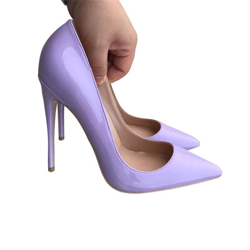 Chaussures 12 Heel Cm Cuir Heel Verni Pompes Clair Roviciya Femmes Heel 12cm 8cm En 10cm À Parti Pointu Talons Stiletto Qp017 Hauts Bout Violet 87wqH