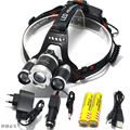 8000LM  3*LED XM-L T6 Zoom Rechargeable Headlight 18650 Led Headlamp Waterproof  Head Lamp Light +2*18650 Battery + Charger+USB