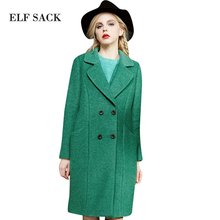 ELF SACK 2016 Winter Female Wool Coats Women Solid Double Breasted Coat Thick Long Outerwear