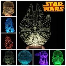 Star Wars 3D Madera Bulbificación LED de Color Cambiante Luz BB-8 AT-AT Estrella de la muerte/Millennium Falcon/Darth Vader/Stromtrooper/R2D2