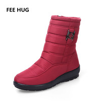 FEE HUG Winter Shoes Women Waterproof Flexible High Quality Fashion Warm Boots With Fur Women S