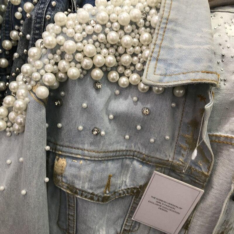 Peinture Lourd Dames Nancylim Pulvérisation Perles Lâche Jeans Light Manteau Veste Perlée Perle Blue Manteaux Femmes Vintage Pardessus RqqSIv