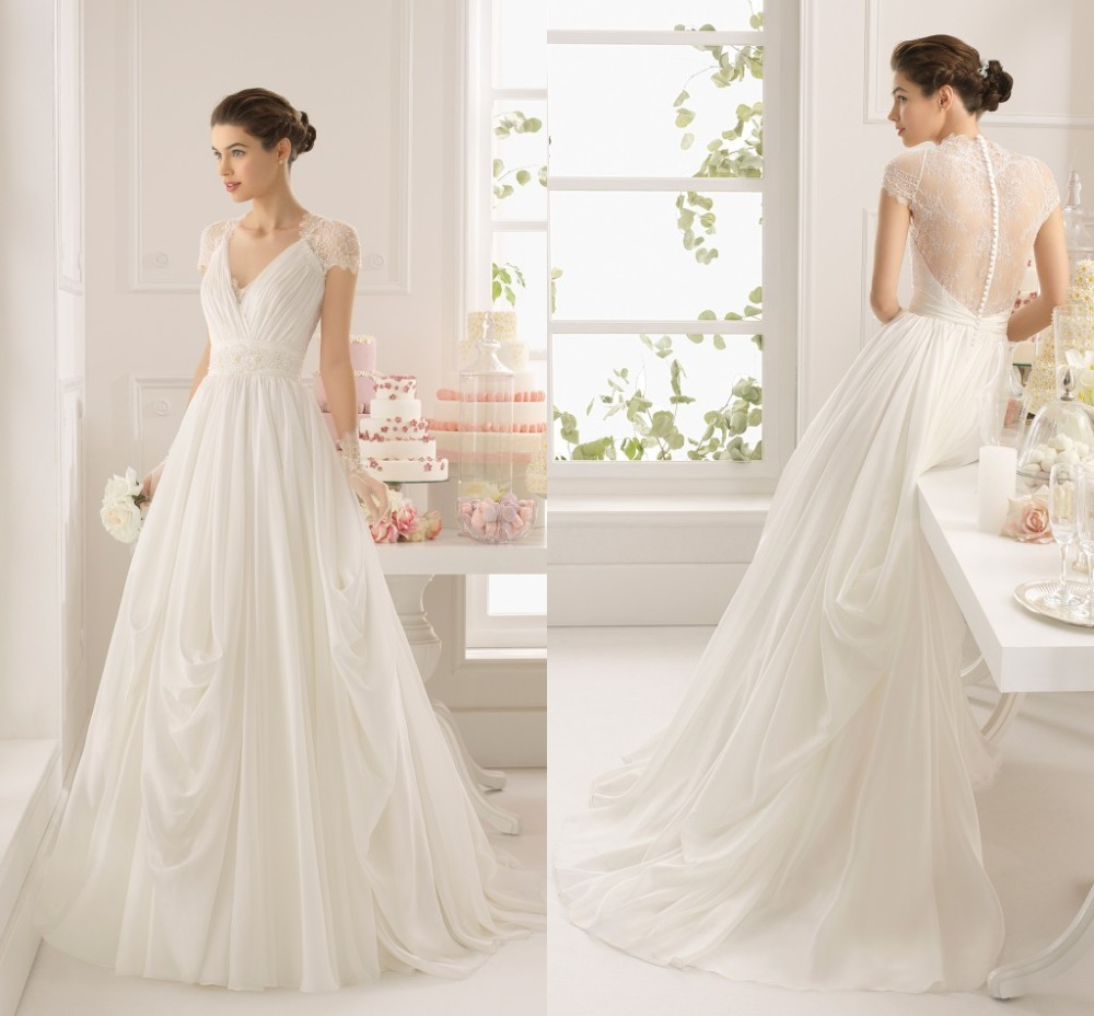 Australian Wedding Gowns: Gorgeous V Neck Cap Sleeve Chiffon Lace Illusion Back