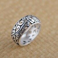 Thai silver ring S990 Zuyin wholesale antique style women pierced Jewelry New matte