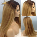 Straight Full Lace Human Hair Wigs Italian Yaki Full Lace Wig/Lace Front Wig Ombre Color Brazilian Light Yaki Wig