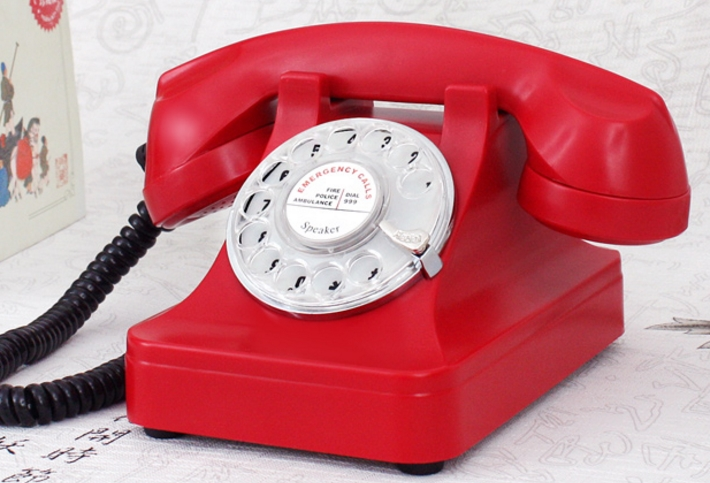 Old telephone rotary dial antique telephone vintage telephone red Handsfree phone